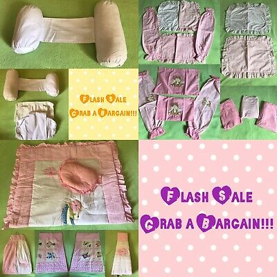 Lovely Baby Girl Nursery Pink Gingham Cotbed Beddings/Pillow/Bolster Set 23 Pcs.