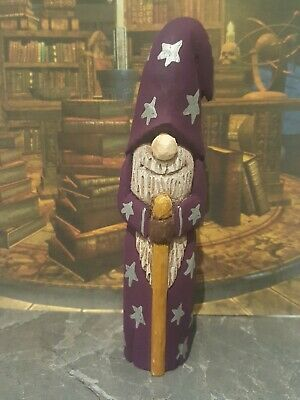 Hand carved and hand painted wooden wizard