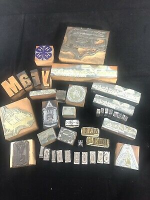 Vintage Lot Misc Wood Wooden & Metal Letterpress Type Letter Number Typeset