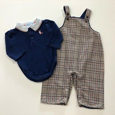 JANIE AND JACK Woodland Fox Plaid Overalls & Bodysuit Outfit Size 0-3 Months