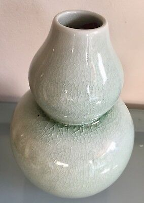 Vintage Thai Celadon Vase Made In Thailand 22cm Signed 1970s