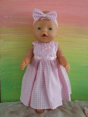 42cm BABY BORN Dolls Clothes / DRESS & HEADBAND / pink gingham