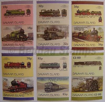 1986 DAVAAR ISLAND Set #3 Train Locomotive Railway Stamps/Leaders of the World