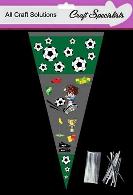 CARTOON FOOTBALL - Cone Bags - Party Bags - Sweets  Cellophane Bags + Twist Ties