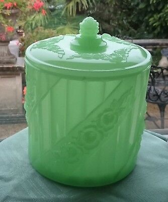 Antique Art Deco Baccarat Portieux Opaline Jadeite Uranium? Glass Biscuit Barrel