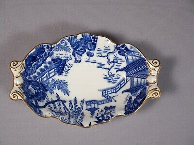 Royal Crown Derby Blue Mikado Rare Nut Candy Snack Dish Tray Bone china 1946