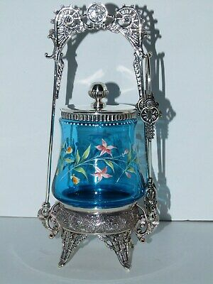 Fancy Antique Enameled Blue Footed Silverplated Pickle Castor