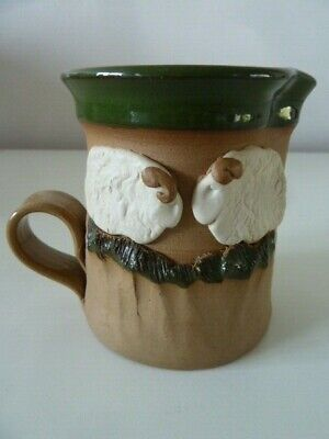 ART STUDIO POTTERY STONEWARE GREEN GLAZED JUG~DECORATED WITH 2 x 3D WHITE SHEEP