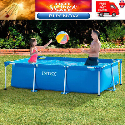 Rectangular Swimming Pool Framed  Large Family Summer Outdoor Fun Garden Intex