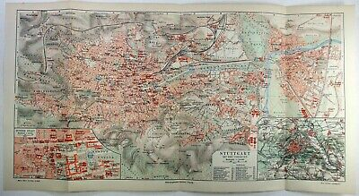 Original 1908 City Map of Stuttgart, Germany by Meyers. Antique
