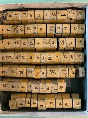 Antique Wood Rubber Letter, Number, Punctuation Stamps
