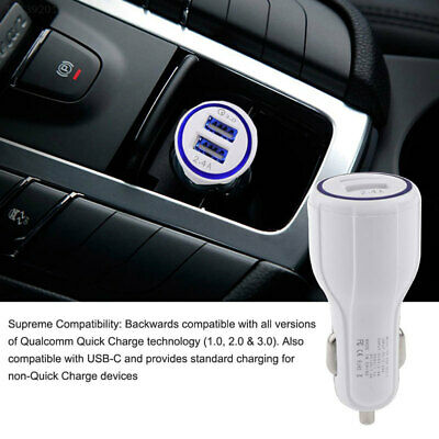 1995 QC 3.0 Quick Charge Dual USB Ports Fast In Car Charger Charging Full Speed