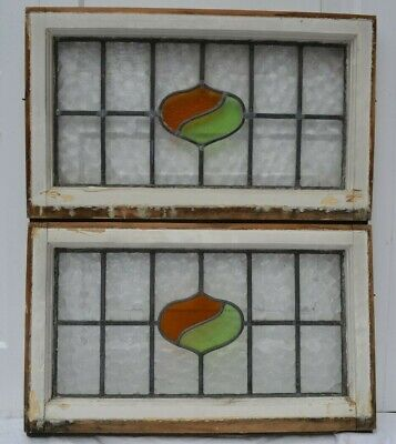TWO frame 665 x 406mm leaded light stained glass window sash fanlights. R631b