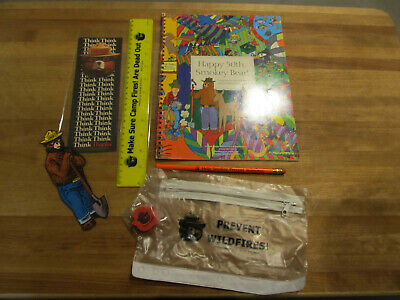 Vintage Smokey Bear Activity Book School Supply LOT 50thB'day/Book Marks