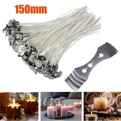 150mm 15 cm Pre-Waxed Wicks for Candle Making w/ Sustainers For Home! UK SELLER!