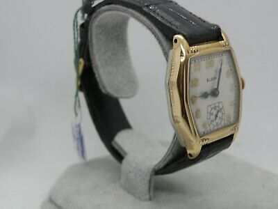 1932 Elgin Tonneau Case Man`s Watch.....large Awesome Timepiece...new Crystal &