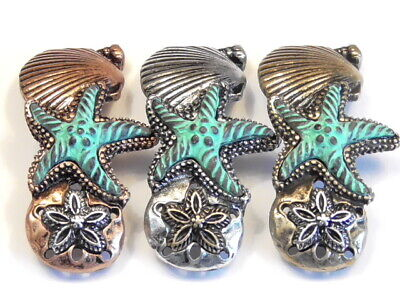 4 - 2 Hole Slider Spacer Beads Tri Color & Patina Sand Dollar Starfish Sea Shell