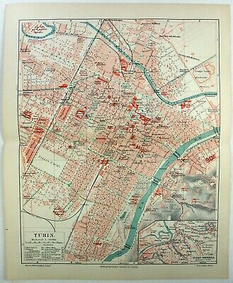 Original 1908 City Map of Turin, Italy by Meyers. Antique