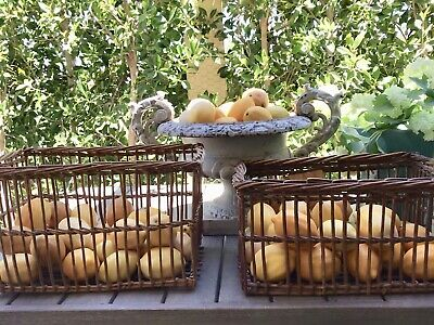 ⭕️ Antique Pair of French Wicker Rattan Baskets  Farm Country House