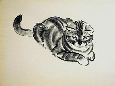 Clare Turlay Newberry SOLEFUL LOOKING STRIPED CAT c1940 Large Print Matted