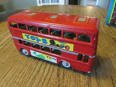 """Double Decker Toy Friction Bus, 8"""" X 2.5"""" X 4.25"""" overall. (G - #655)"""