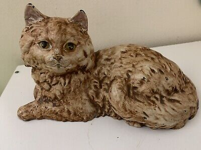 Antique American USA HUBLEY Cast Iron Lying Cat Statue Doorstop Heavy Rare Color