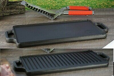 "Cast Iron Reversible Grill Griddle 17"" x 9"" Pan Hamburger Steak Stove Top Fry"