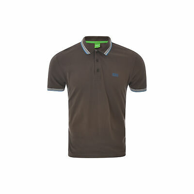 Hugo Boss Polo Neck T-Shirt Mens Modern Fit Twin Tipped Short Sleeve Brown Large