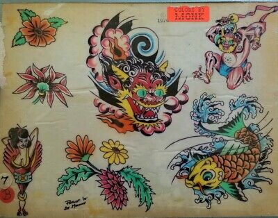 vintage '76 picture machine produx tattoo flash asian foo dog geisha colors:monk