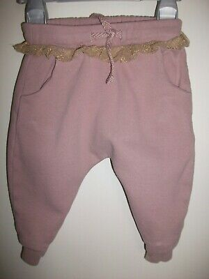 Next Baby Girls Fleece Lined Dusty Pink Cuffed Trousers / Joggers - 6-9 Months