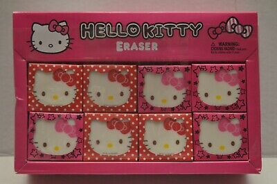 NEW Hello Kitty 32-Count Erasers W/ Original Display Box