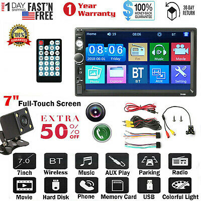 """🔥7"""" Car Stereo Radio 2 DIN HD MP5 FM Player Full Touch Screen+Free Rear Camera"""