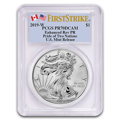2019-W Enhanced  Reverse Proof Silver Eagle PCGS PF 70 Pride of Two Nations FS