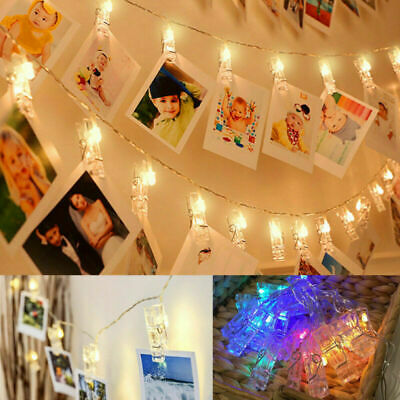 30 LED Hanging Picture Photo Peg Clip Fairy String Lights Wedding Window Decor