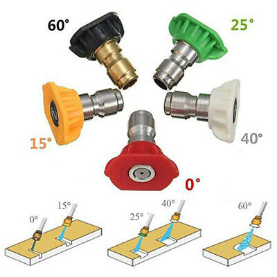 Pressure Washer Spray Nozzle Tips 1/4 Quick Connect Design 2.5-4.0 GPM (5 Pack)