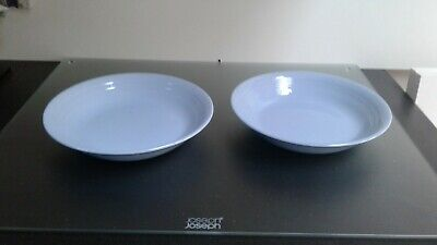 "Woods Ware Blue Iris 4 rimmed cereal dessert bowls dishes 7 6/ 8"" 1940's utility"