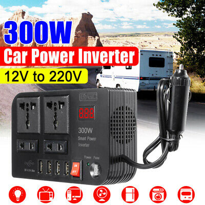 300W Car Power Inverter DC12V TO AC220V 4 USB Port Sine Wave + Cigarette Lighter