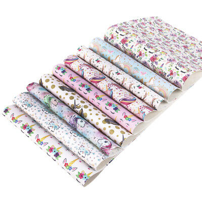 9 Pcs 20*34 cm Unicorn Printed Faux Leather Sheet Hair Bow Material