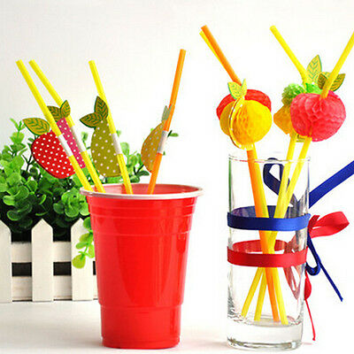 50Pcs Cocktail Fruit Drinking Straws Hawaiian Christmas Party Hen Stag Bar PuSC