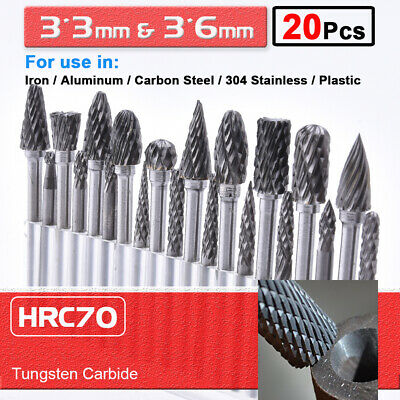 20pcs Tungsten Carbide Rotary Point Burr Die Grinder Shank Set 3*3mm & 3*6mm