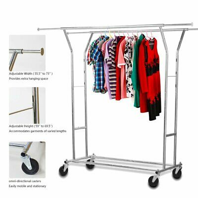 Convenient Stainless Steel Clothes Rack Adjustable Height & Width With Wheels