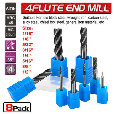 8pcs Solid Carbide End Mill 4 Flute Coated Micrograin Carbide Slot Drill Cutter