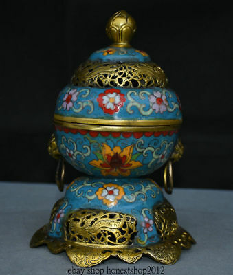 """8 """"Alte China Kupfer Cloisonne Emaille Dynastie Griff Ring Brenner"""