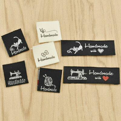 50 Pcs Washable Woven Labels Handmade Fabric Garment Tags Clothing Sewing Crafts