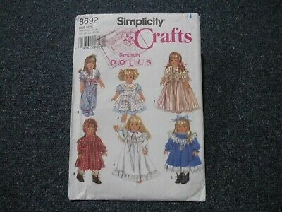 """1999 Simplicity Sewing Pattern ~ Doll's Clothes ~ Pretty Outfits For 18"""" Doll"""