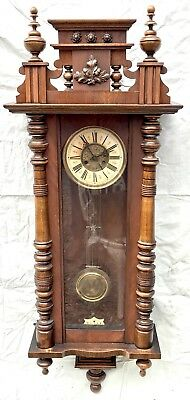 Lovely Large Decorative Vienna Antique Wall Clock 8 Day Walnut Spring Driven