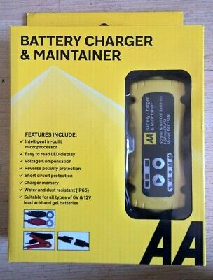 AA Car 6V/12V Smart Intelligent Battery Charger & Cable Leads Maintainer