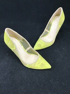 6a07b658ea7 JESSICA SIMPSON CAMBA Lace Pointed Toe Pumps Electric Yellow Cream 6 ...