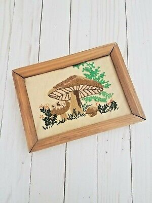 VTG Hand Stitched 70s Mushroom Picture Wood Framed cross stitch embroidery