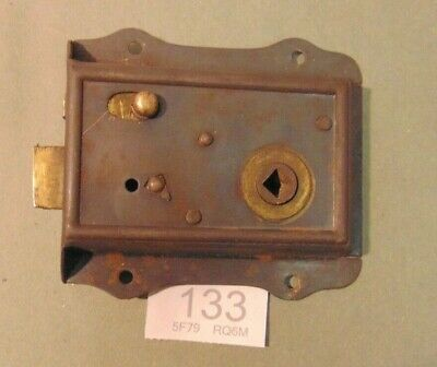 Antique  Brass And Steel Rim Door Lock  133